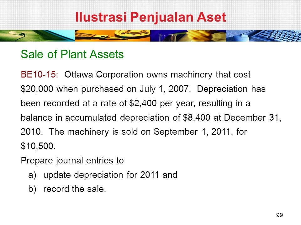 Sale of Plant Assets BE10-15: Ottawa Corporation owns machinery that cost $20,000 when purchased on July 1, 2007. Depreciation has been recorded at a