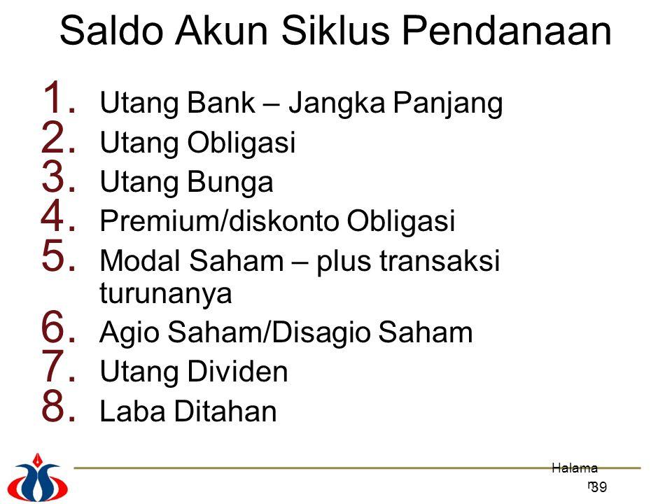 1. Utang Bank – Jangka Panjang 2. Utang Obligasi 3. Utang Bunga 4. Premium/diskonto Obligasi 5. Modal Saham – plus transaksi turunanya 6. Agio Saham/D