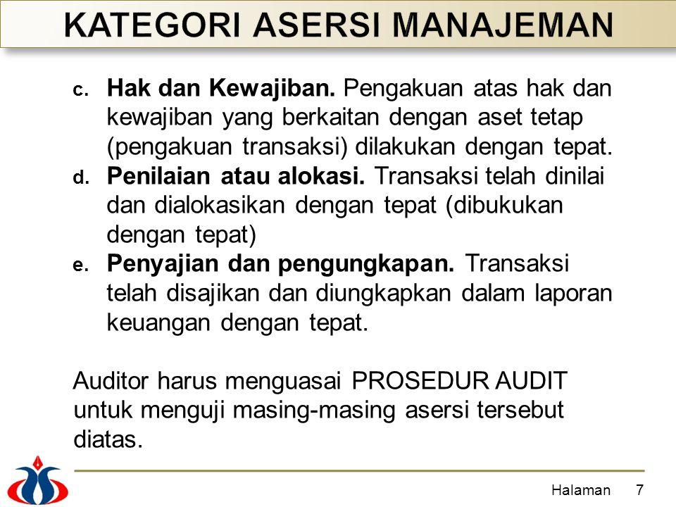 c. Hak dan Kewajiban. Pengakuan atas hak dan kewajiban yang berkaitan dengan aset tetap (pengakuan transaksi) dilakukan dengan tepat. d. Penilaian ata