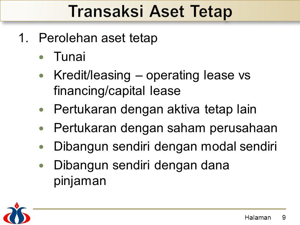 1.Perolehan aset tetap Tunai Kredit/leasing – operating lease vs financing/capital lease Pertukaran dengan aktiva tetap lain Pertukaran dengan saham p