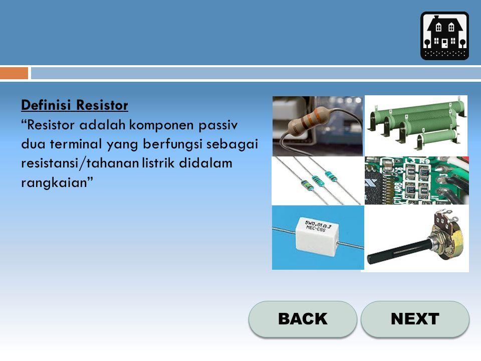 NEXT BACK Jenis-Jenis Resistor a.Resistor Tetap  Resistor tetap adalah resistor dengan nilai tetap  Simbol resistor tetap :  Contoh bentuk fisik resistor tetap