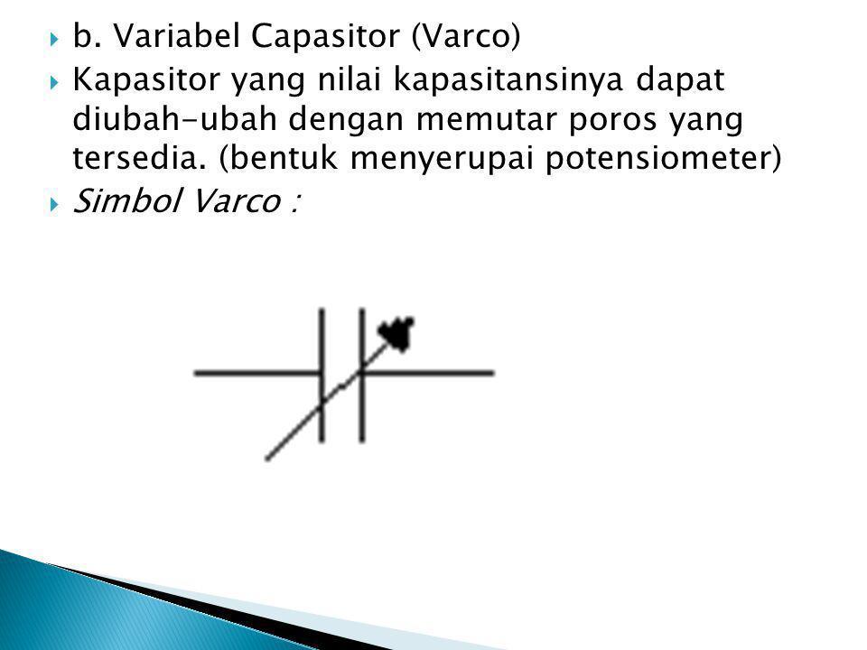  b. Variabel Capasitor (Varco)  Kapasitor yang nilai kapasitansinya dapat diubah-ubah dengan memutar poros yang tersedia. (bentuk menyerupai potensi