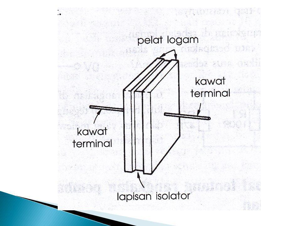  Lapisan isolator berupa : lempengan plastik tipis, dalam beberapa jenis berupa udara  Apabila disambungkan ke sumber DC, elektron-elektron akan berkumpul pada pelat yang tersambung ke terminal negatif sumber.