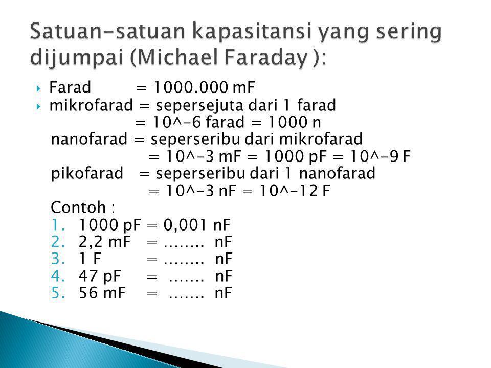  Farad = 1000.000 mF  mikrofarad = sepersejuta dari 1 farad = 10^-6 farad = 1000 n nanofarad = seperseribu dari mikrofarad = 10^-3 mF = 1000 pF = 10