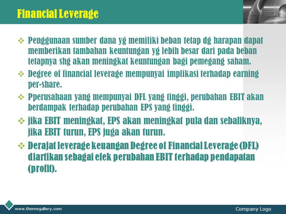 LOGO Financial Leverage  Secara formal, DFL diformulasikan sbb: % perubahan laba bersih setelah pajak (EPS) DFL = -------------------------------------------------------------- % perubahan EBIT o Semakin tinggi hutang yang dipakai, semakin tinggi DFL Penggunaan leverage keuangan yang besar mempunyai implikasi yang sama dengan penggunaan leverage operasi yang besar, yaitu meningkatkan 'leverage'.