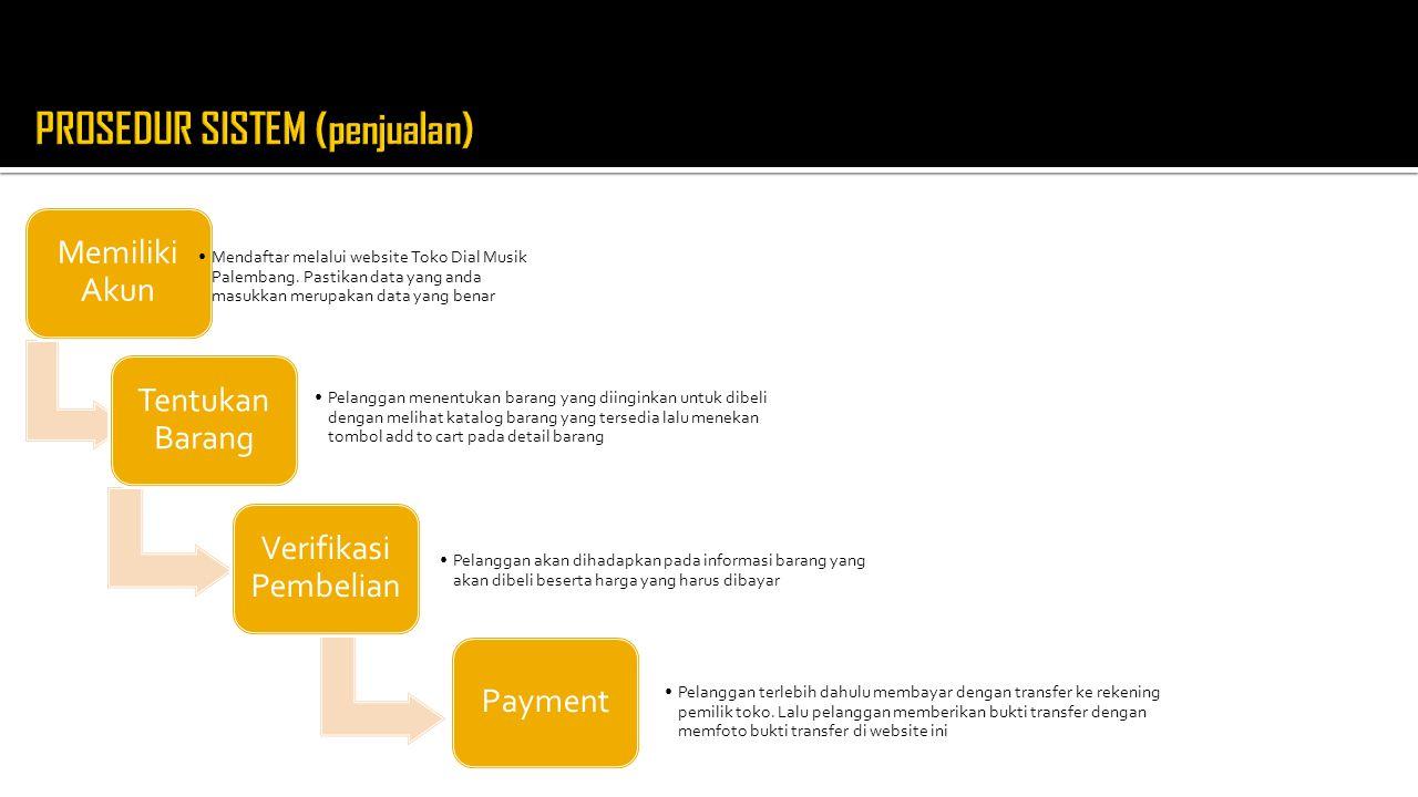 Memiliki Akun Mendaftar melalui website Toko Dial Musik Palembang. Pastikan data yang anda masukkan merupakan data yang benar Tentukan Barang Pelangga