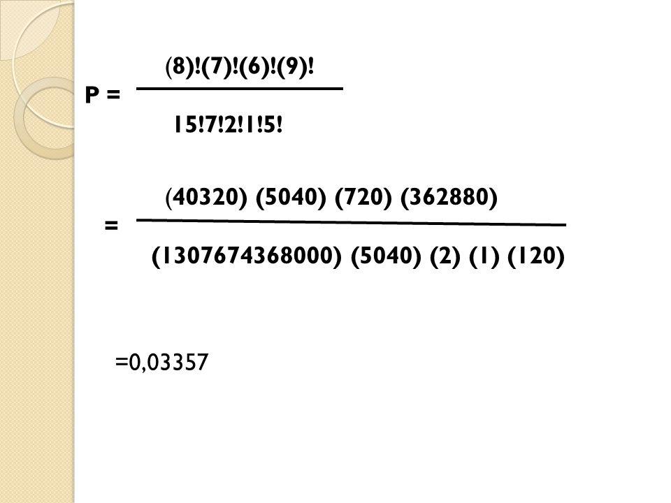 (8)!(7)!(6)!(9)! P = 15!7!2!1!5! (40320) (5040) (720) (362880) = (1307674368000) (5040) (2) (1) (120) =0,03357