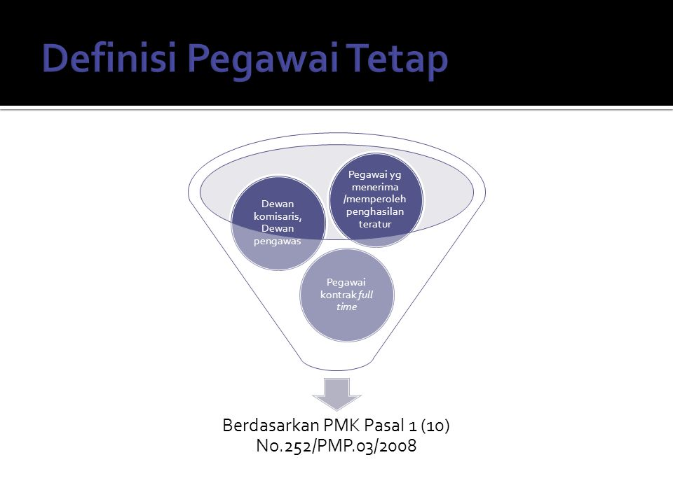 Berdasarkan PMK Pasal 1 (10) No.252/PMP.03/2008 Pegawai kontrak full time Dewan komisaris, Dewan pengawas Pegawai yg menerima /memperoleh penghasilan teratur