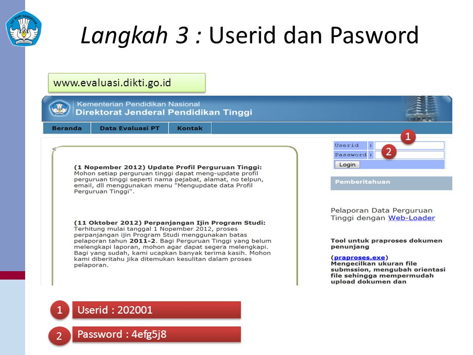 Langkah 3 : Userid dan Pasword 1 1 2 2 1 1 Userid : 202001 2 2 Password : 4efg5j8 www.evaluasi.dikti.go.id