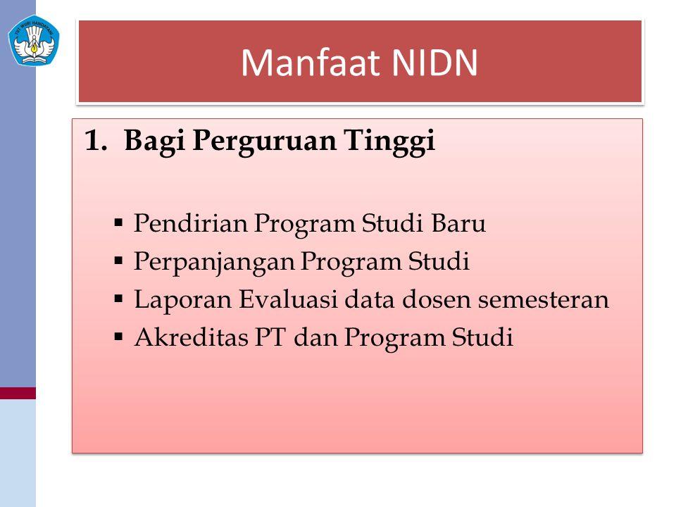 Manfaat NIDN 1.Bagi Perguruan Tinggi  Pendirian Program Studi Baru  Perpanjangan Program Studi  Laporan Evaluasi data dosen semesteran  Akreditas
