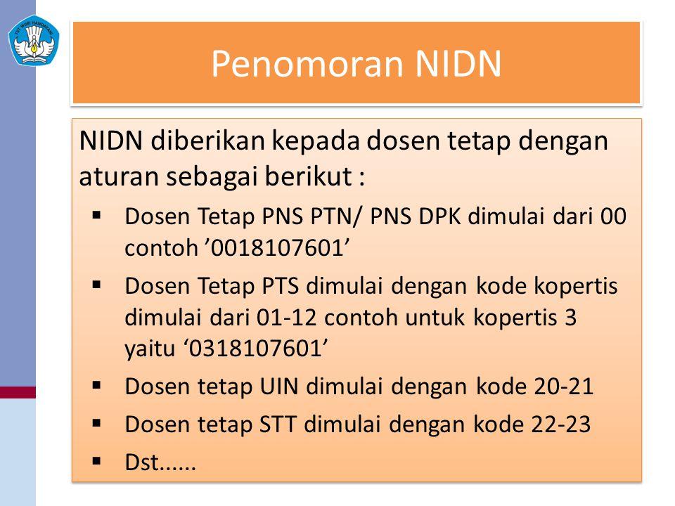 Penomoran NIDN NIDN diberikan kepada dosen tetap dengan aturan sebagai berikut :  Dosen Tetap PNS PTN/ PNS DPK dimulai dari 00 contoh '0018107601' 