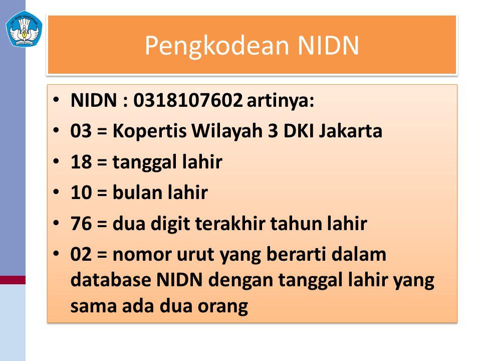 Pengkodean NIDN NIDN : 0318107602 artinya: 03 = Kopertis Wilayah 3 DKI Jakarta 18 = tanggal lahir 10 = bulan lahir 76 = dua digit terakhir tahun lahir