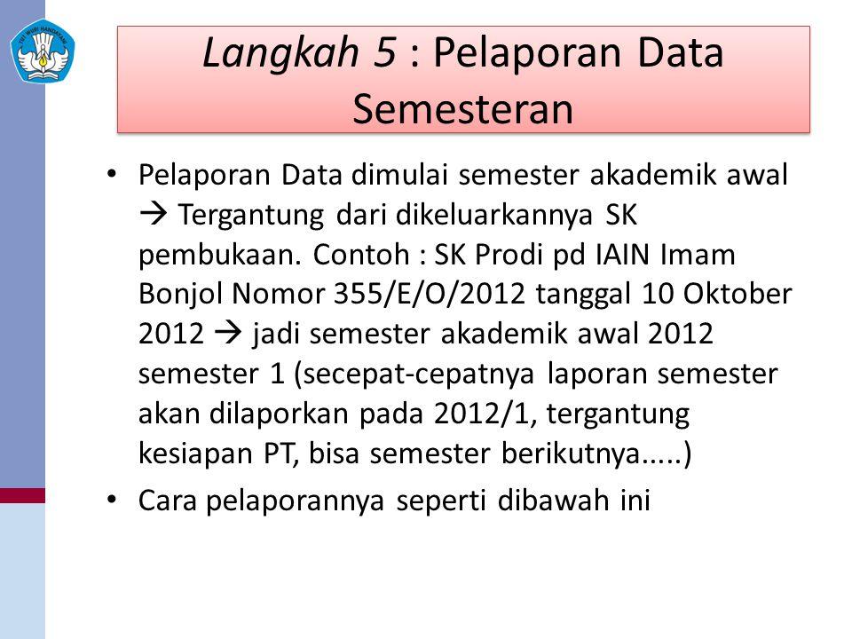 Langkah 5 : Pelaporan Data Semesteran Pelaporan Data dimulai semester akademik awal  Tergantung dari dikeluarkannya SK pembukaan. Contoh : SK Prodi p