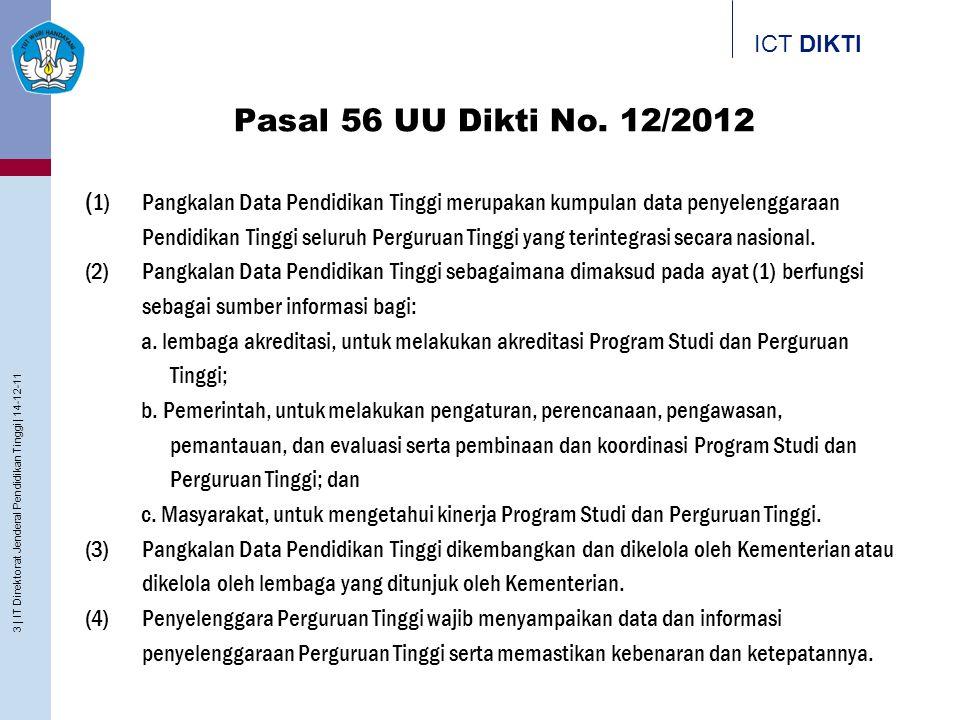 ICT DIKTI Pasal 56 UU Dikti No. 12/2012 ( 1) Pangkalan Data Pendidikan Tinggi merupakan kumpulan data penyelenggaraan Pendidikan Tinggi seluruh Pergur