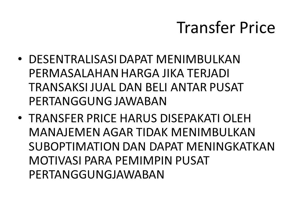 Transfer Price DESENTRALISASI DAPAT MENIMBULKAN PERMASALAHAN HARGA JIKA TERJADI TRANSAKSI JUAL DAN BELI ANTAR PUSAT PERTANGGUNG JAWABAN TRANSFER PRICE HARUS DISEPAKATI OLEH MANAJEMEN AGAR TIDAK MENIMBULKAN SUBOPTIMATION DAN DAPAT MENINGKATKAN MOTIVASI PARA PEMIMPIN PUSAT PERTANGGUNGJAWABAN