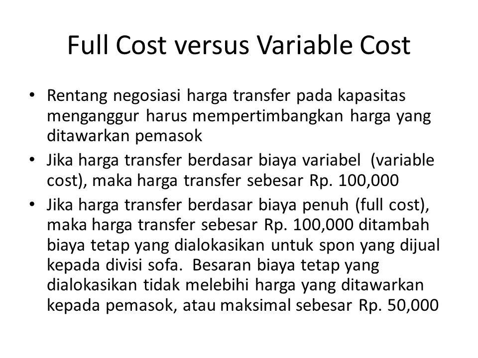 Full Cost versus Variable Cost Rentang negosiasi harga transfer pada kapasitas menganggur harus mempertimbangkan harga yang ditawarkan pemasok Jika harga transfer berdasar biaya variabel (variable cost), maka harga transfer sebesar Rp.