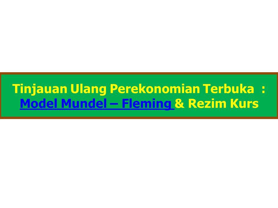 Kurva LM*- Ekuilibrium Pasar Uang  Model Mundell-Fleming merepresentasikan pasar uang dgn suatu persamaan yg sama bentuknya dgn Model IS-LM  Persamaan ini menyatakan bhw supply real money balances (M/P) sama dgn demand thd uang L(r,Y)  Demand thd uang dipengaruhi secara negatif oleh tingkat bunga r, dan secara positif oleh income, Y  Money supply M adalah exogenous variable yg senantiasa dikontrol oleh Bank Sentral (BI), dan krn Model Mundell- Fleming dirancang utk analisis fluktuasi jangka pendek, maka tingkat harga P diasumsikan juga exogenous dan tetap