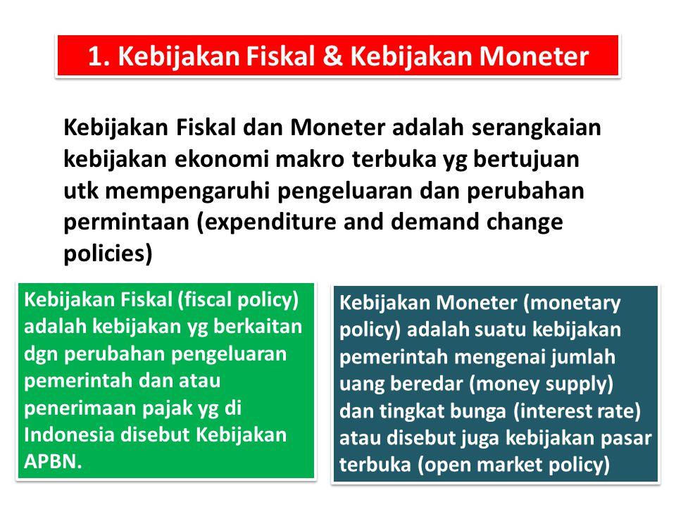 1. Kebijakan Fiskal & Kebijakan Moneter Kebijakan Fiskal dan Moneter adalah serangkaian kebijakan ekonomi makro terbuka yg bertujuan utk mempengaruhi