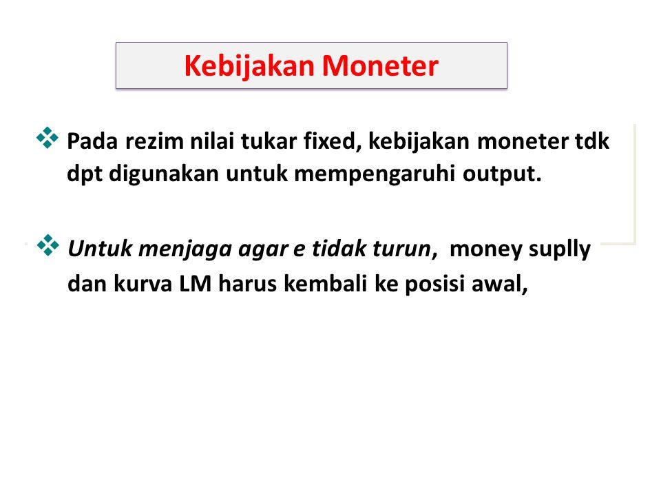 Kebijakan Moneter  Pada rezim nilai tukar fixed, kebijakan moneter tdk dpt digunakan untuk mempengaruhi output.  Untuk menjaga agar e tidak turun, m