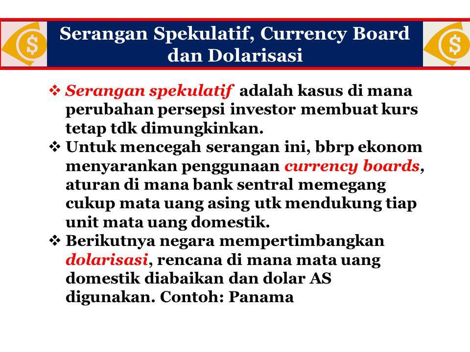 Serangan Spekulatif, Currency Board dan Dolarisasi  Serangan spekulatif adalah kasus di mana perubahan persepsi investor membuat kurs tetap tdk dimun