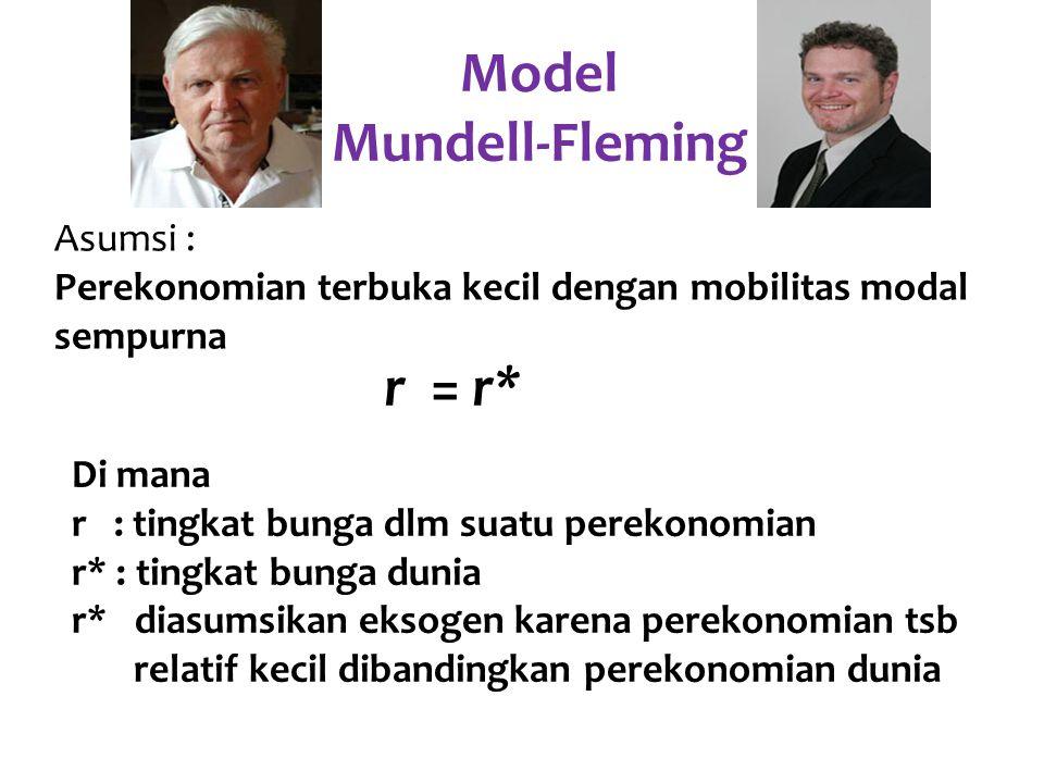Y = C (Y – T) + I (r*) + G + NX (e) Di mana: Y : pendapatan agregat C : jumlah konsumsi (Y-T) : disposable income I : investasi r : tingkat bunga G : belanja pemerintah NX : ekspor netto e : kurs nominal (jumlah mata uang asing per unit mata uang domestik) Pasar barang dan Kurva IS* Model Mundell-Fleming