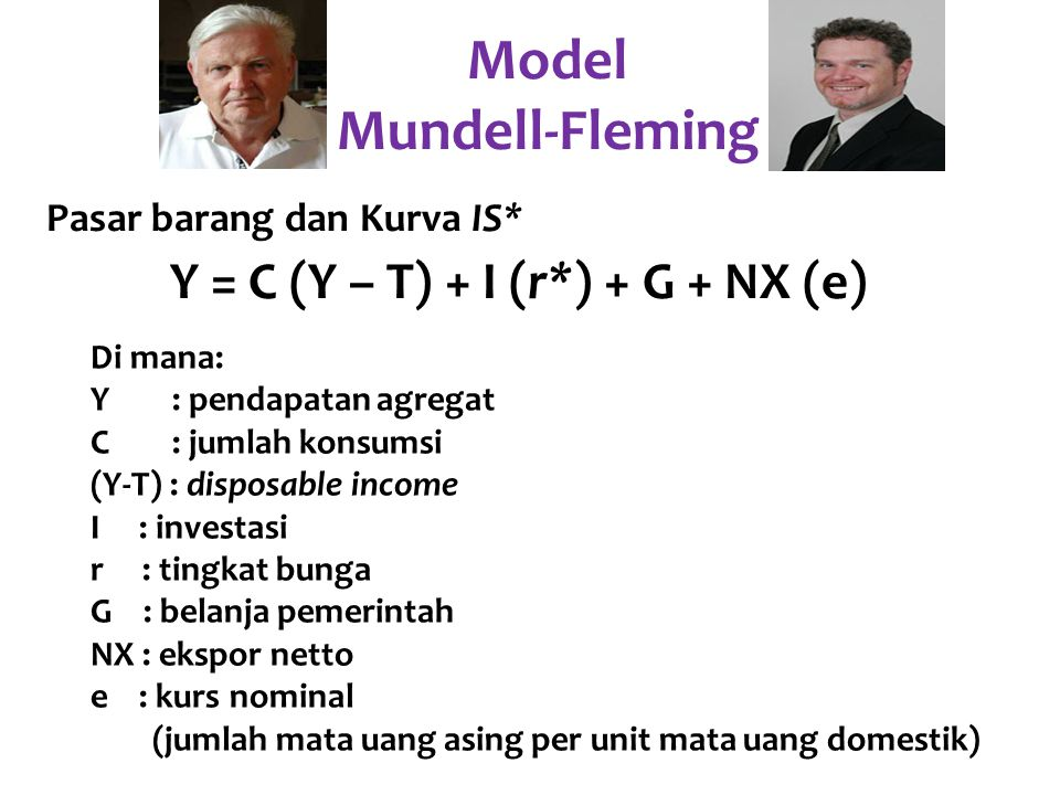 Y = C (Y – T) + I (r*) + G + NX (e) Di mana: Y : pendapatan agregat C : jumlah konsumsi (Y-T) : disposable income I : investasi r : tingkat bunga G :