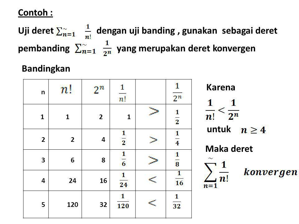 Contoh : Uji deret dengan uji banding, gunakan sebagai deret pembanding yang merupakan deret konvergen n 1121 224 368 42416 512032 Bandingkan Karena u