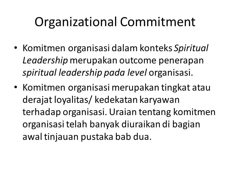 Organizational Commitment Komitmen organisasi dalam konteks Spiritual Leadership merupakan outcome penerapan spiritual leadership pada level organisasi.