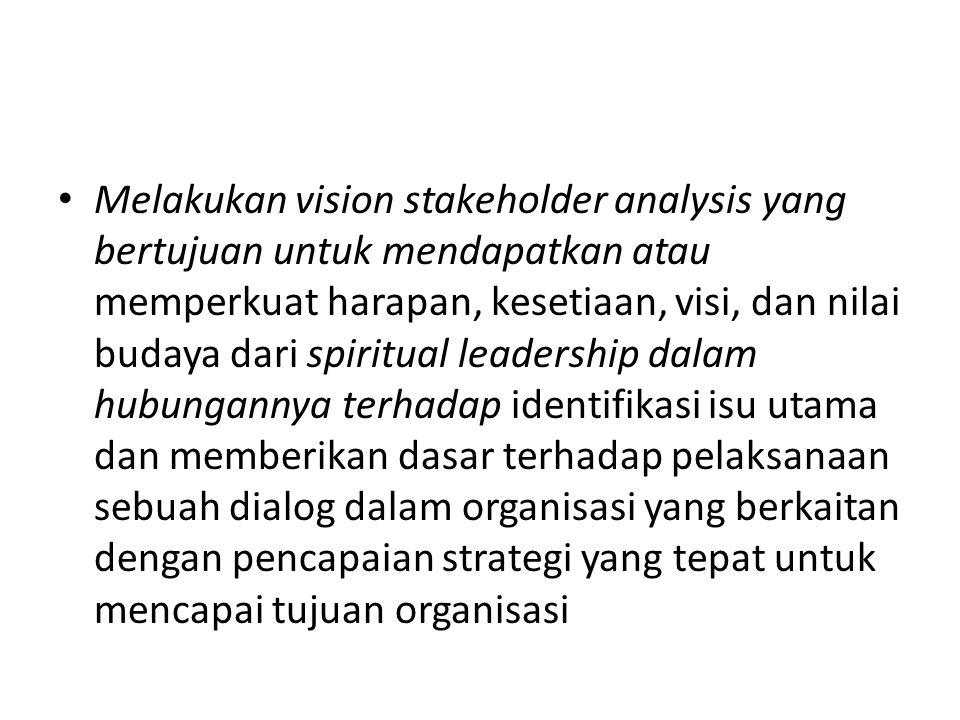 Melakukan vision stakeholder analysis yang bertujuan untuk mendapatkan atau memperkuat harapan, kesetiaan, visi, dan nilai budaya dari spiritual leadership dalam hubungannya terhadap identifikasi isu utama dan memberikan dasar terhadap pelaksanaan sebuah dialog dalam organisasi yang berkaitan dengan pencapaian strategi yang tepat untuk mencapai tujuan organisasi