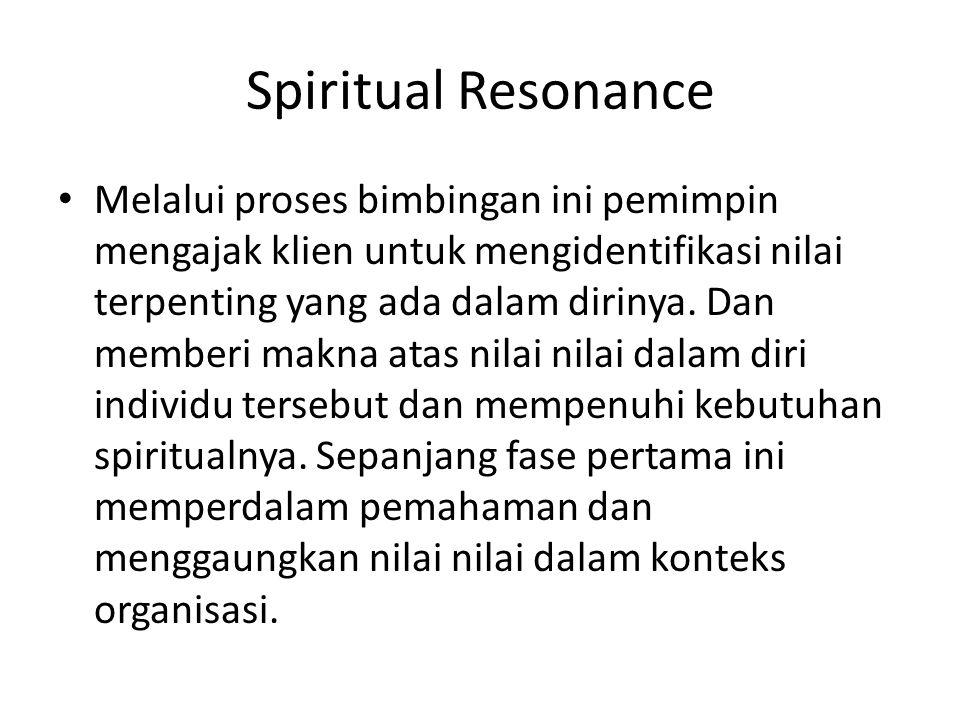 Spiritual Resonance Melalui proses bimbingan ini pemimpin mengajak klien untuk mengidentifikasi nilai terpenting yang ada dalam dirinya.