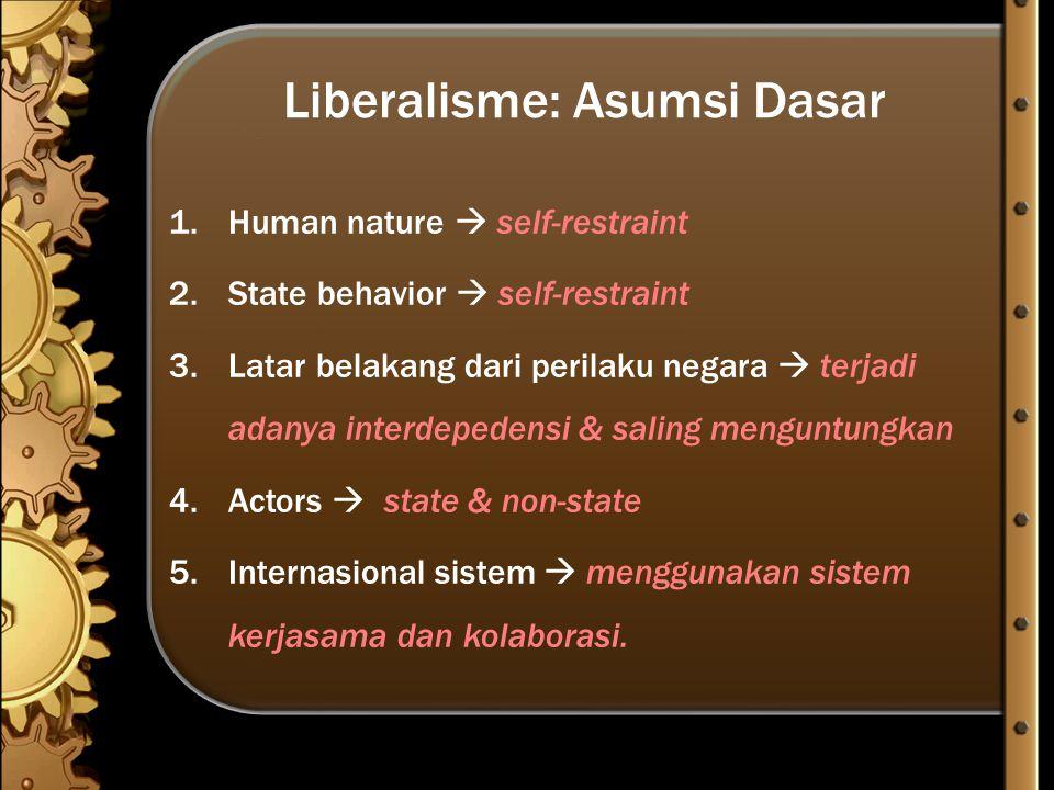 Liberalisme: Asumsi Dasar 1.Human nature  self-restraint 2.State behavior  self-restraint 3.Latar belakang dari perilaku negara  terjadi adanya int