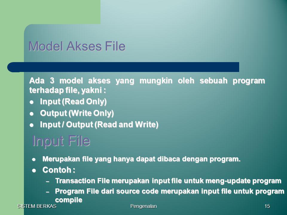 SISTEM BERKAS Pengenalan15 Model Akses File Ada 3 model akses yang mungkin oleh sebuah program terhadap file, yakni : Input (Read Only) Input (Read On