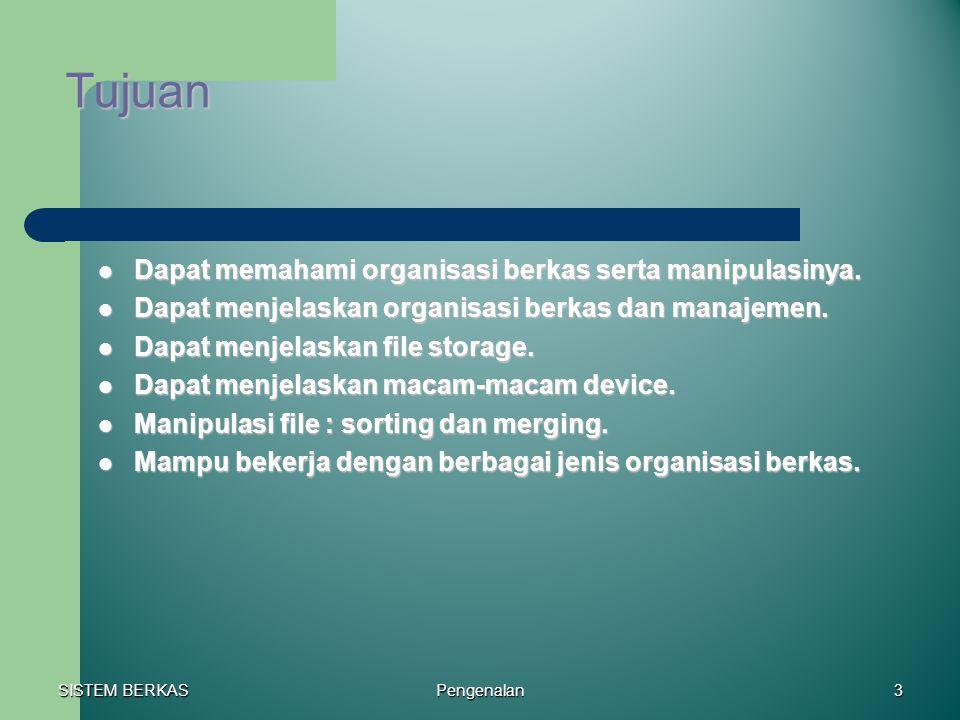 SISTEM BERKAS Pengenalan3 Tujuan Dapat memahami organisasi berkas serta manipulasinya. Dapat memahami organisasi berkas serta manipulasinya. Dapat men