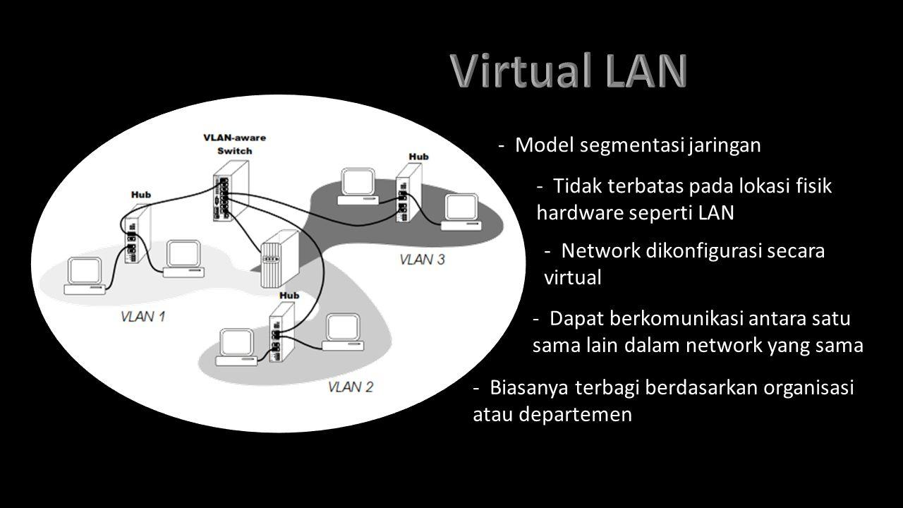 - Model segmentasi jaringan - Tidak terbatas pada lokasi fisik hardware seperti LAN - Network dikonfigurasi secara virtual - Dapat berkomunikasi antar