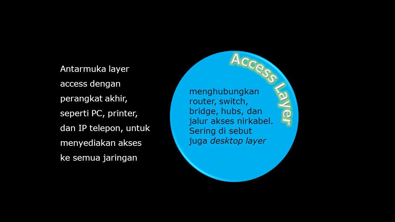 menghubungkan router, switch, bridge, hubs, dan jalur akses nirkabel. Sering di sebut juga desktop layer Antarmuka layer access dengan perangkat akhir