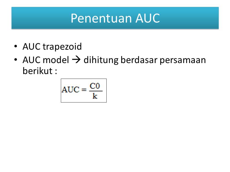 Penentuan AUC AUC trapezoid AUC model  dihitung berdasar persamaan berikut :
