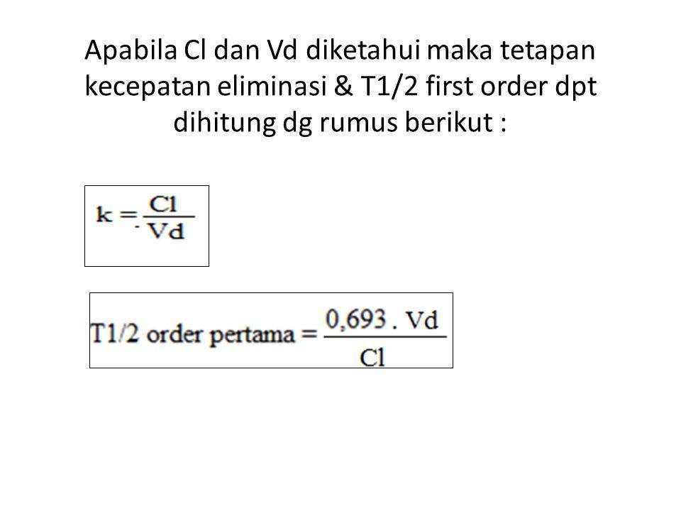 Apabila Cl dan Vd diketahui maka tetapan kecepatan eliminasi & T1/2 first order dpt dihitung dg rumus berikut :