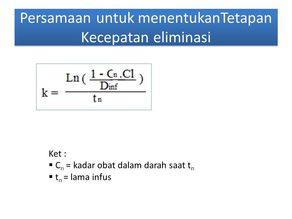 Persamaan untuk menentukanTetapan Kecepatan eliminasi Ket :  C n = kadar obat dalam darah saat t n  t n = lama infus