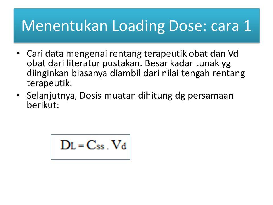Menentukan Loading Dose: cara 1 Cari data mengenai rentang terapeutik obat dan Vd obat dari literatur pustakan. Besar kadar tunak yg diinginkan biasan