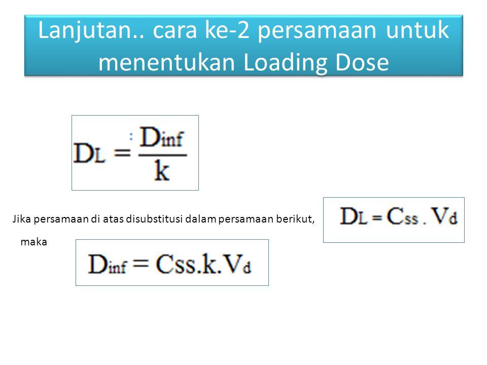 Lanjutan.. cara ke-2 persamaan untuk menentukan Loading Dose Jika persamaan di atas disubstitusi dalam persamaan berikut, maka