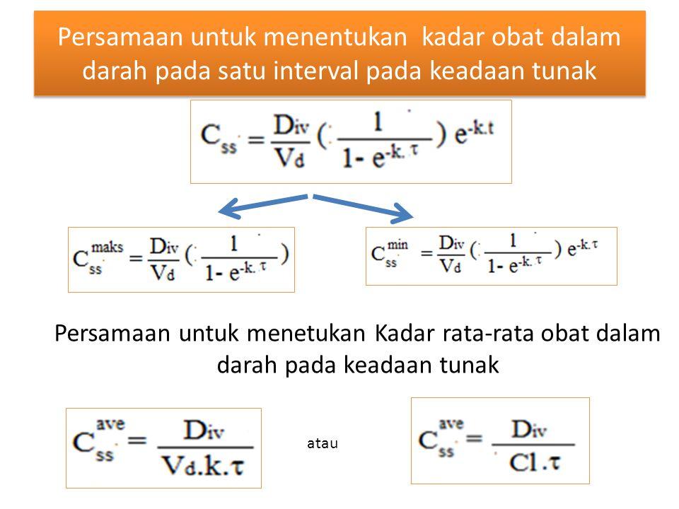 Persamaan untuk menentukan kadar obat dalam darah pada satu interval pada keadaan tunak atau Persamaan untuk menetukan Kadar rata-rata obat dalam dara