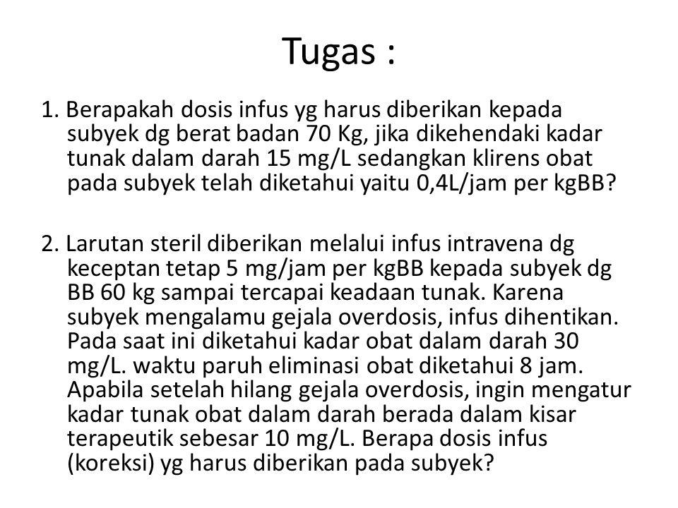 Tugas : 1. Berapakah dosis infus yg harus diberikan kepada subyek dg berat badan 70 Kg, jika dikehendaki kadar tunak dalam darah 15 mg/L sedangkan kli