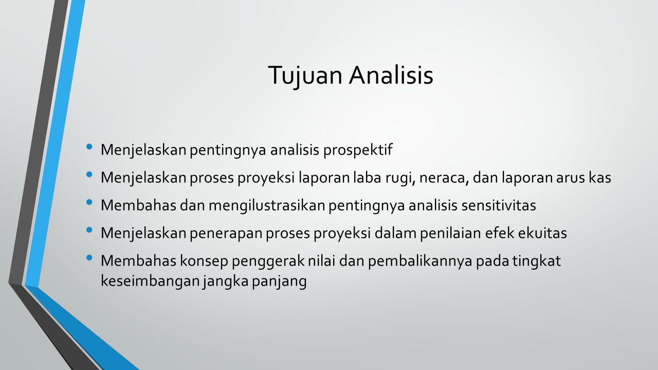 Tujuan Analisis Menjelaskan pentingnya analisis prospektif Menjelaskan proses proyeksi laporan laba rugi, neraca, dan laporan arus kas Membahas dan me