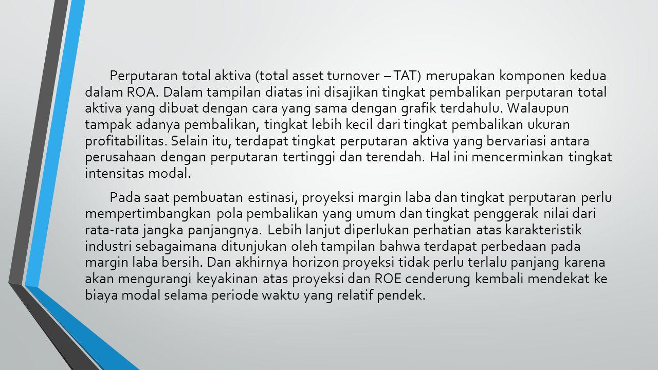 Perputaran total aktiva (total asset turnover – TAT) merupakan komponen kedua dalam ROA. Dalam tampilan diatas ini disajikan tingkat pembalikan perput