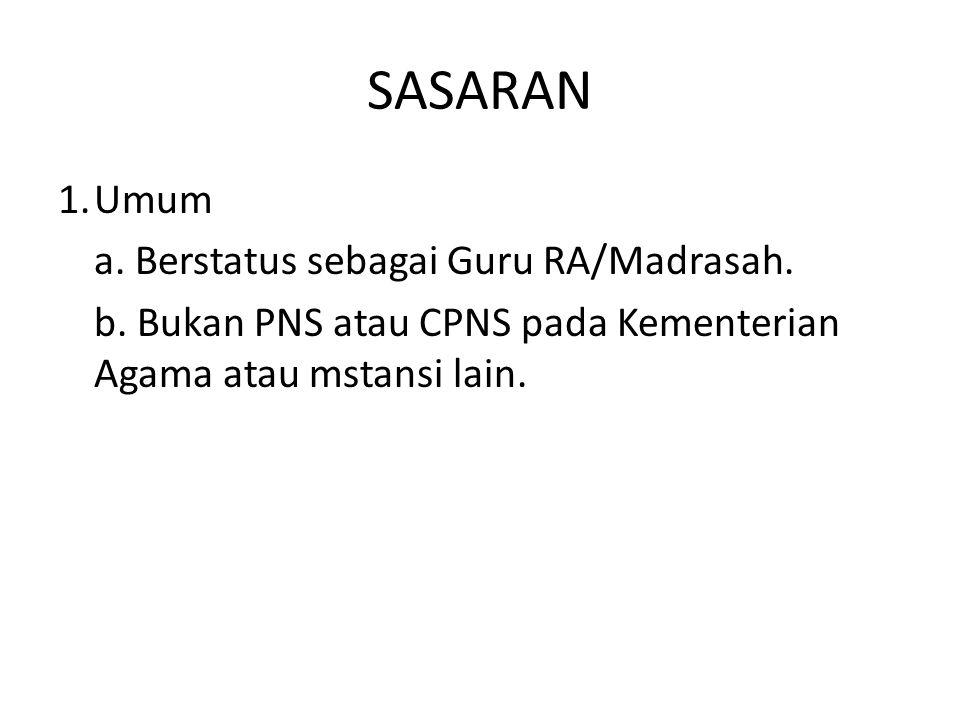 SASARAN 1.Umum a. Berstatus sebagai Guru RA/Madrasah. b. Bukan PNS atau CPNS pada Kementerian Agama atau mstansi lain.