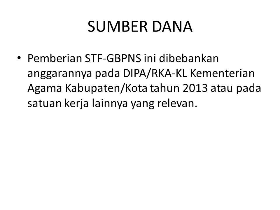 SUMBER DANA Pemberian STF-GBPNS ini dibebankan anggarannya pada DIPA/RKA-KL Kementerian Agama Kabupaten/Kota tahun 2013 atau pada satuan kerja lainnya yang relevan.