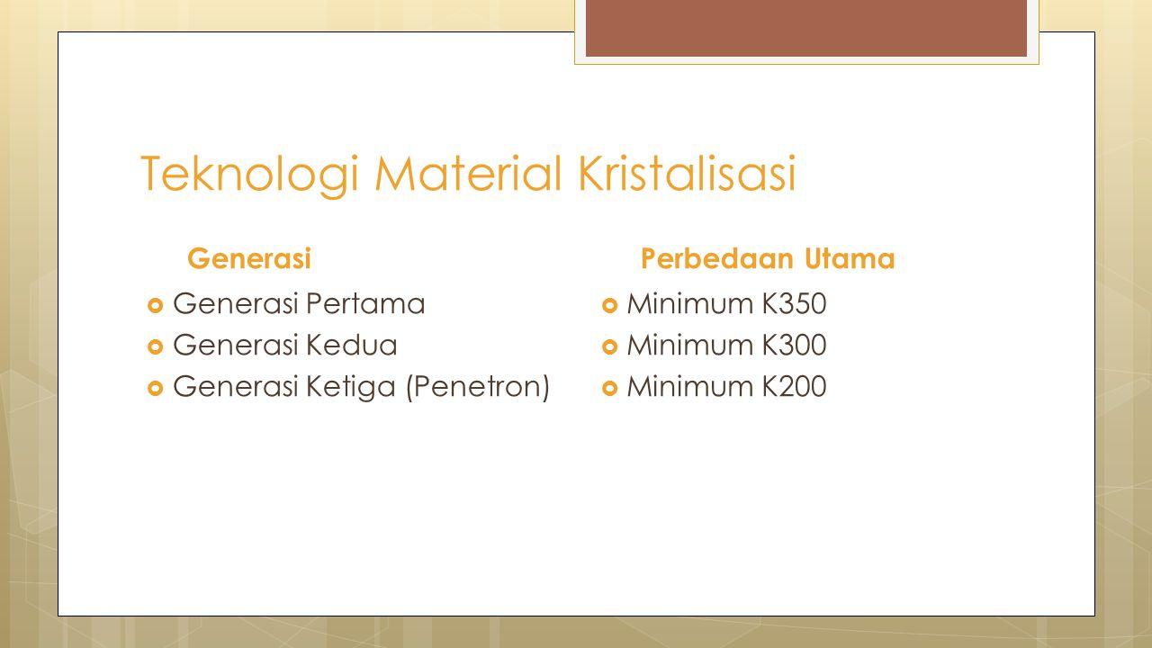  Minimum K350  Minimum K300  Minimum K200 Perbedaan Utama  Generasi Pertama  Generasi Kedua  Generasi Ketiga (Penetron) Generasi Teknologi Mater