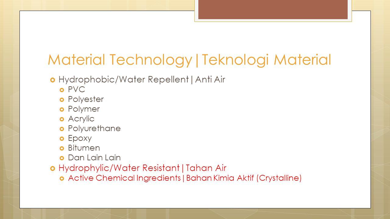  Hydrophobic/Water Repellent|Anti Air  PVC  Polyester  Polymer  Acrylic  Polyurethane  Epoxy  Bitumen  Dan Lain Lain  Hydrophylic/Water Resi