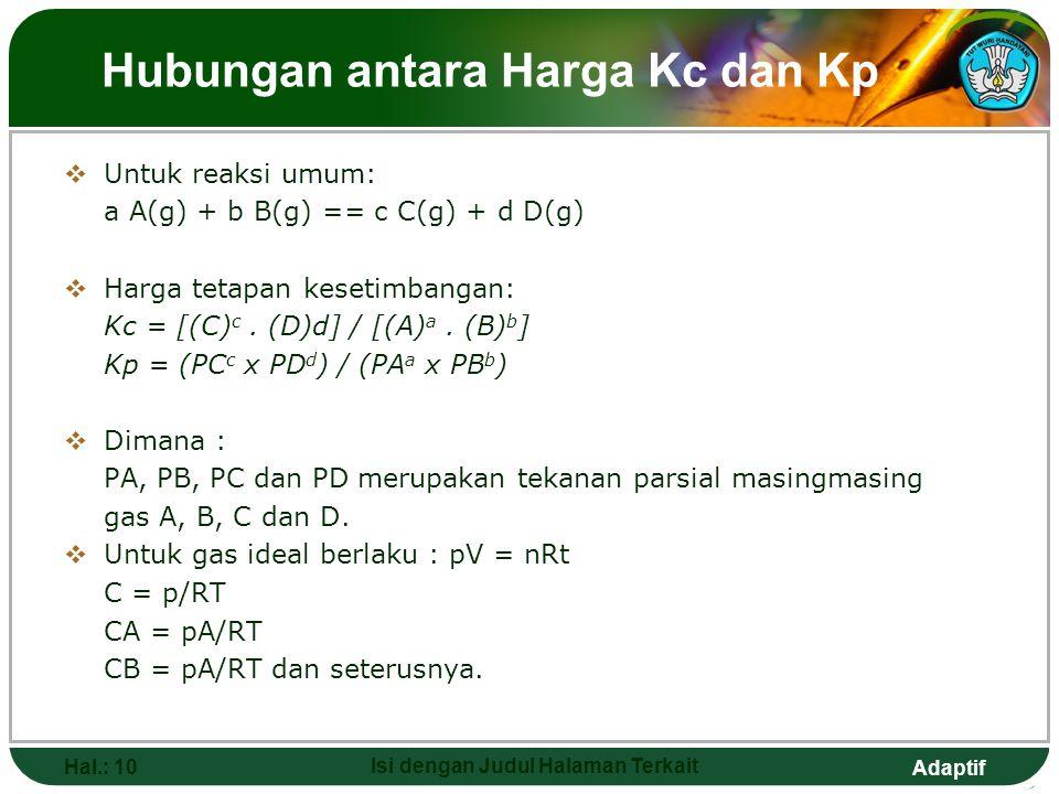 Adaptif Hubungan antara Harga Kc dan Kp  Untuk reaksi umum: a A(g) + b B(g) == c C(g) + d D(g)  Harga tetapan kesetimbangan: Kc = [(C) c. (D)d] / [(