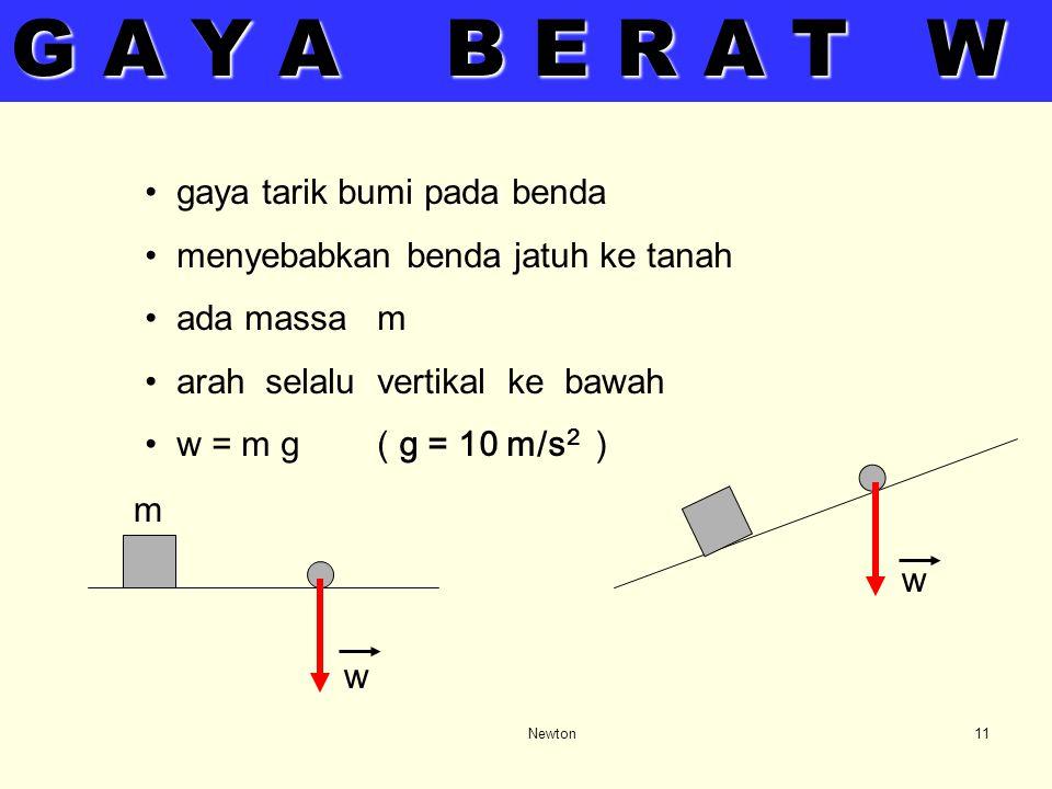 Newton10 Gaya – gaya yang mungkin ada : - Gaya luar yang diberikan - Gaya berat W - Gaya tali T - Gaya normal N - Gaya gesek f - Gaya sentripetal pili